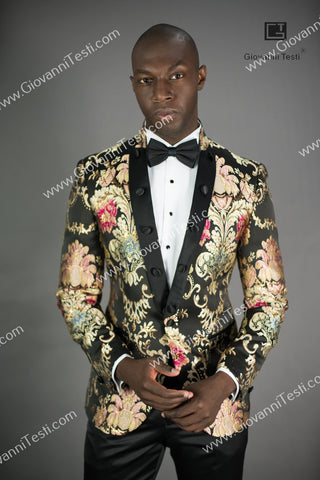 Giovanni Testi  Peak Lapel Slim Fit Floral Jacket GTPI-BAILI