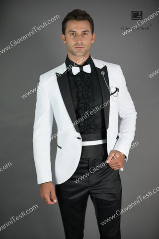 Effetti 1 Button Fancy Slim Fit Tuxedo with Velvet Glitter Fabric CS3202-292 White