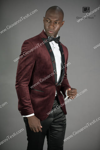 Giovanni Testi  Peak Lapel Slim Fit Burgundy Velvet Jacket GTPI-2597