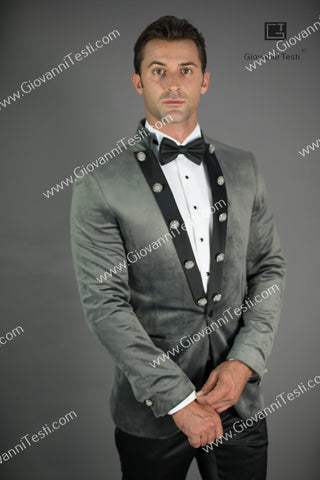 Giovanni Testi  Peak Lapel Slim Fit Grey Velvet Jacket GTPI-2597
