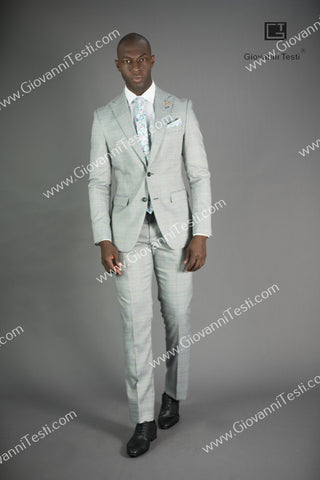 Giovanni Testi 2 Button Slim Fit  Suit  with  Peak Lapel GT2DG-1815