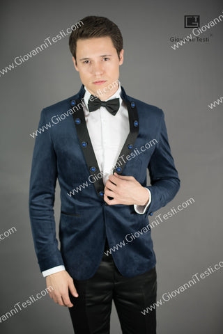 Giovanni Testi  Peak Lapel Slim Fit Navy Velvet Jacket GTPI-2597