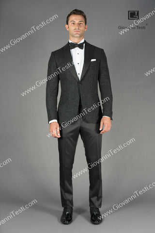 Effetti 1 Button Fancy Slim Fit Tuxedo with Velvet Glitter Fabric CS3206-287 Black