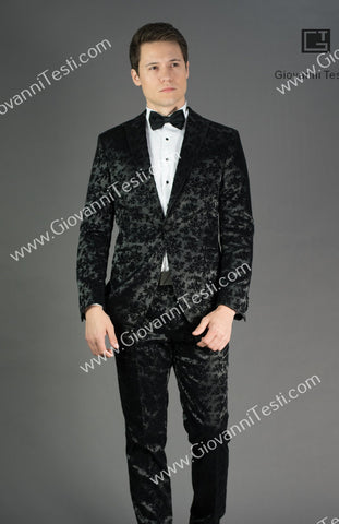 Effetti 1 Button 2 Piece Black Peak Lapel Suit with Velvet Floral Design CSVR-298