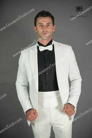 Effetti 1 Button Fancy Slim Fit Tuxedo with Velvet Glitter Fabric CS3207-286 Cream