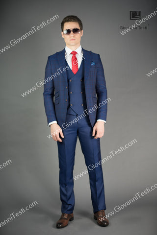 Giovanni Testi 2 Button Slim Fit Suit with Peak Lapel GT2P+V-3772 Navy