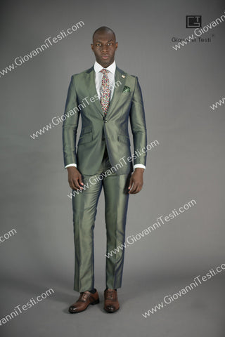 2 Button 3 Piece Slim Fit Navy Pinstripe Suit GTS2V-013