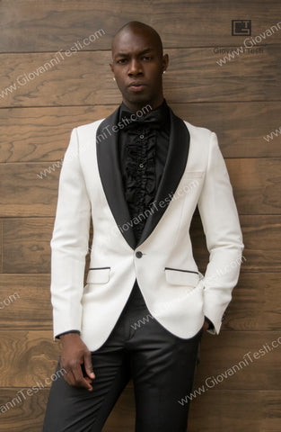 Fabio Fabrinni 1 Button White Slim Fit Jacket with Black Lapel FF1SS-BOSS
