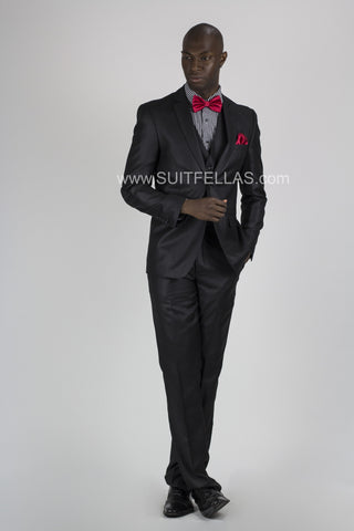 2 Button Notch Lapel Black Slim Fit Suit FF2SV-423