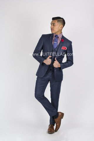 2 Button Notch Lapel Dark Blue Slim Fit Suit FF2SV-423
