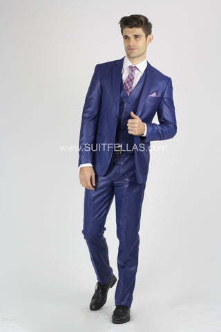 2 Button Notch Lapel Royal Blue Slim Fit Suit FF2SV-423