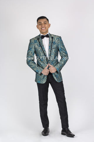 1 Button Peak Lapel Turquoise Sequin Jacket GT1BR-1292