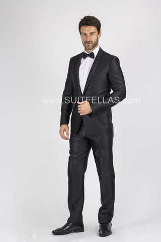 1 Button Black Slim Suit with Glitter Shawl Lapel GT1CP-10042