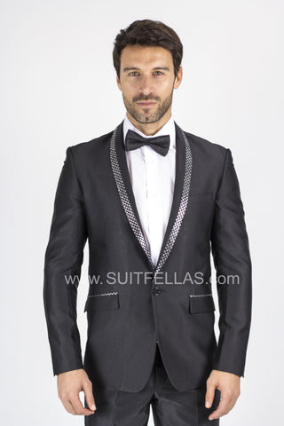 1 Button Black Slim Suit with Checkered Shawl Lapel GT1CP-1889