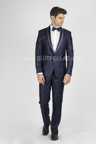 1 Button Navy Slim Suit with Glitter Shawl Lapel GT1CP-10042