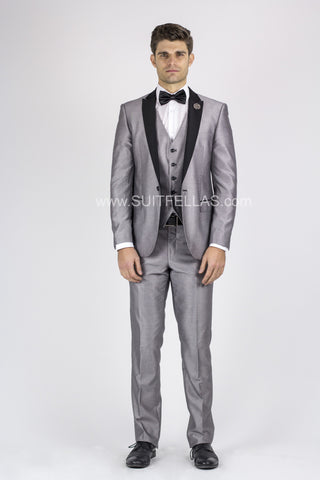 1 Button 3 Piece Peak Lapel Silver Sharkskin Slim Fit Suit GT1DG-1889