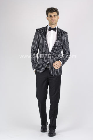 1 Button Black Polka Dot Suit with Peak Lapel GT1TI-DOT