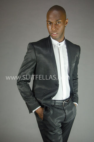 Black Collarless Suit GT2CL-4961