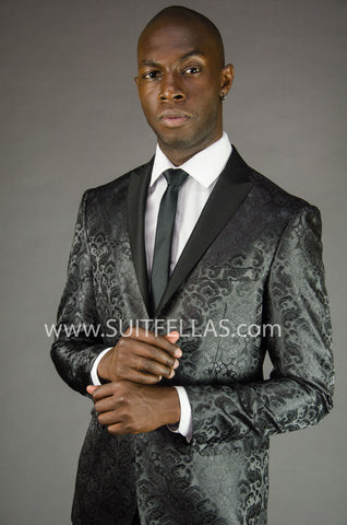 2 Button Peak Lapel Black Paisley Jacket GT2DG-696