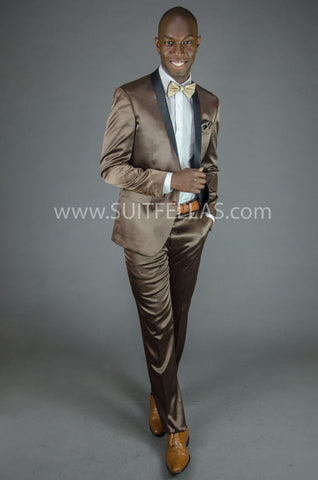 2 Button Brown Shawl Lapel Slim Fit Tuxedo GT2SS-8163