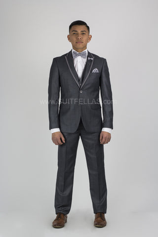 2 Button 3 Piece Peak Lapel Charcoal Grey Sharkskin Slim Fit Suit CALV-145