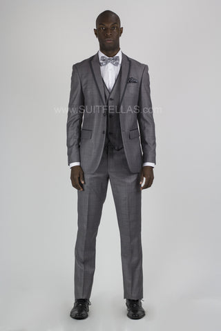 2 Button 3 Piece Peak Lapel Grey Sharkskin Slim Fit Suit CALV-145