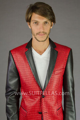 2 Button Notch Lapel Red Snake Skin Jacket GTQ-NIBLET