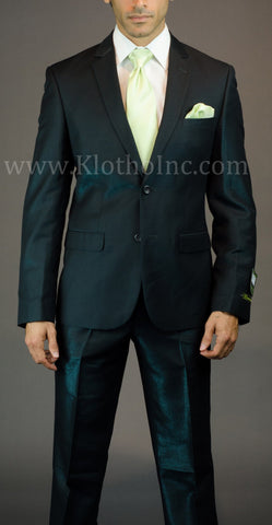 2 Button 3 Piece Green Iridescent Slim Fit Suit GTS2V-7048