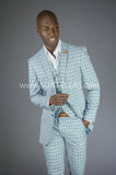 2 button 3 piece Blue Windowpane suit GTS2V-8022