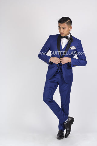 2 Button 3 Piece Shawl Lapel Sharkskin Royal Blue Suit GT2SSV-145