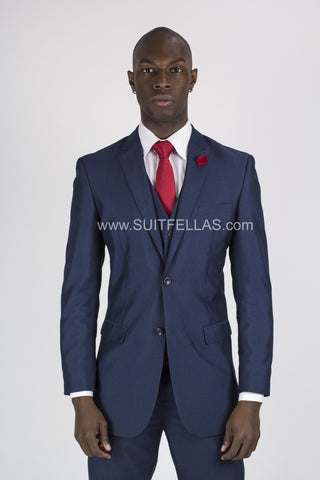 2 Button 3 Piece Blue Pinhead Slim Fit Suit GTS2V-7062