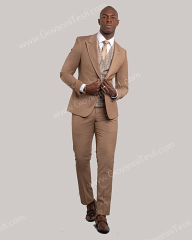 Giovanni Testi 2 Button Slim Fit Suit with Plaid Vest GT2DG+V-6817 Khaki