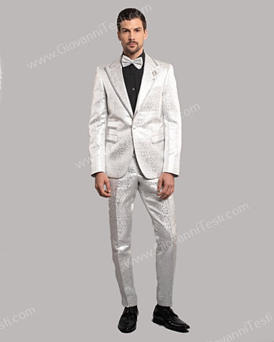 Giovanni Testi 1 Button Slim Fit Suit, Damask Pattern with Silver Trimmed Lapel GT1TH-071 WHITE