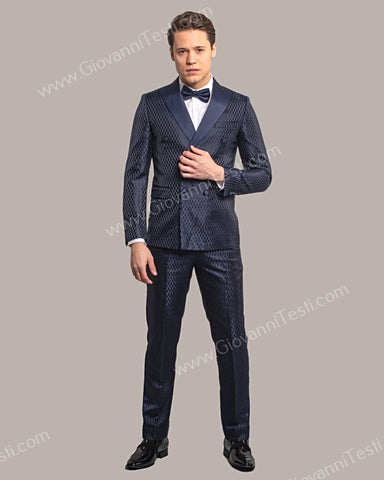 Giovanni Testi 2 Piece Slim Fit Double Breast Suit GT6DB-3083 NAVY
