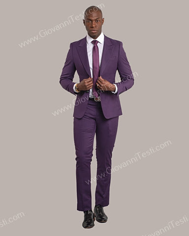 Giovanni Testi 2 Button Slim Fit Suit with Peak Lapel GT2DG-6817 Eggplant