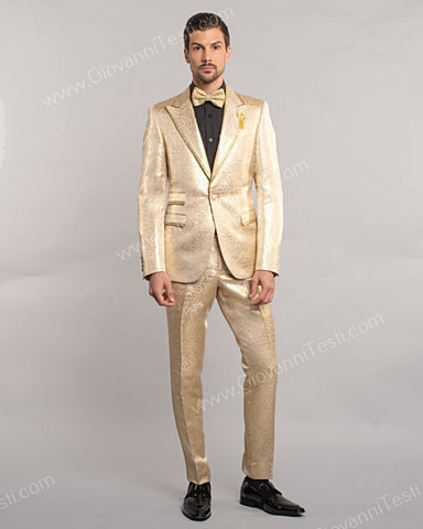 Giovanni Testi 1 Button Slim Fit Suit, Damask Pattern with Gold Trimmed Lapel GT1TH-071 GOLD