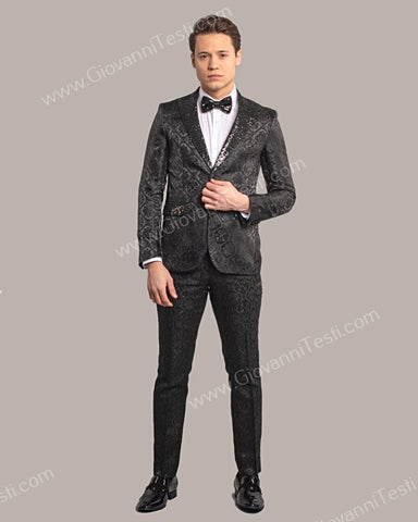 Fabio Fabrinni 2 Button Slim Fit Suit with Sequins Peak Lapel FF2DG-10 BLACK