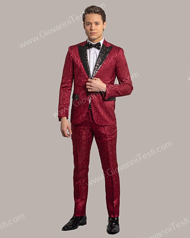 Fabio Fabrinni 2 Button Slim Fit Suit with Sequins Peak Lapel FF2DG-10 BURGUNDY