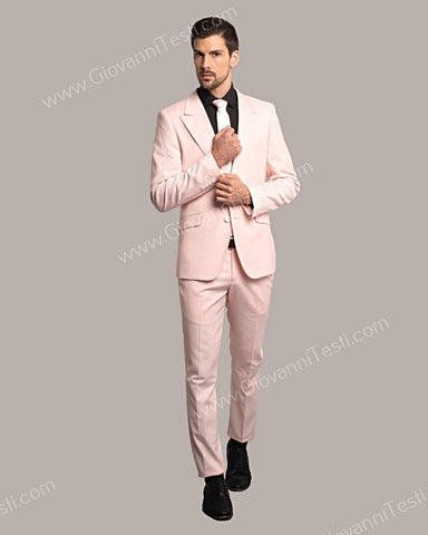 Giovanni Testi 2 Button Slim Fit Suit with Peak Lapel GT2DG-6817 Light Pink