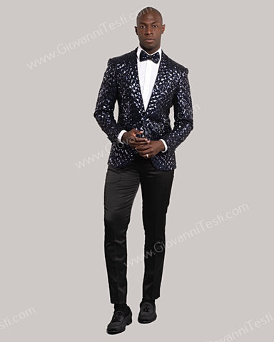 Giovanni Testi 1 Button Slim Fit Sequins Jacket GT1S-5311 NAVY
