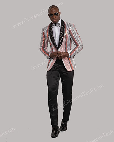 Giovanni Testi 1 Button Slim Fit Striped Sequins Jacket GT1S-8399