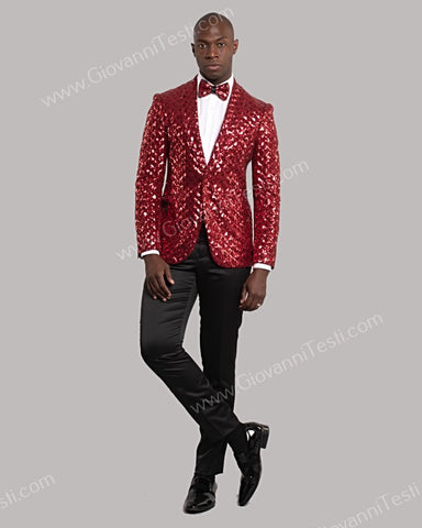 Giovanni Testi 1 Button Slim Fit Sequins Jacket GT1S-5311 RED