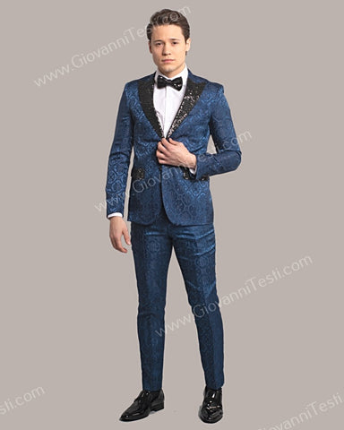 Fabio Fabrinni 2 Button Slim Fit Suit with Sequins Peak Lapel FF2DG-10 NAVY