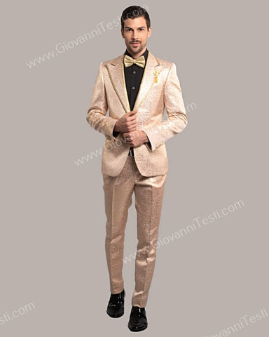 Giovanni Testi 1 Button Slim Fit Suit, Damask Pattern with Gold Trimmed Lapel GT1TH-071 LIGHT PINK
