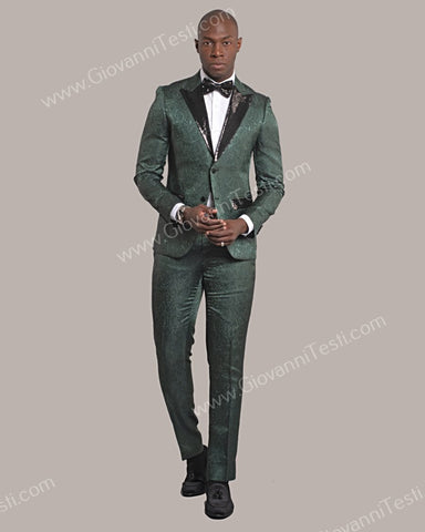Fabio Fabrinni 2 Button Slim Fit Suit with Sequins Peak Lapel FF2DG-3976