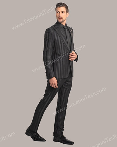 Giovanni Testi 1 Button Slim Fit Suit Tone-on-Tone Stripes with Peak Lapel GT1DG-4510