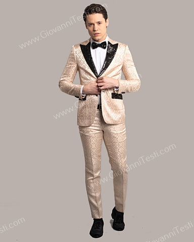 Fabio Fabrinni 2 Button Slim Fit Suit with Sequins Peak Lapel FF2DG-10 SAND