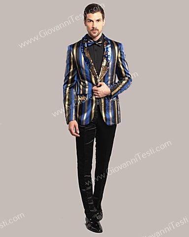 Giovanni Testi 1 Button Slim Fit Striped Sequins Jacket GT1S-613A