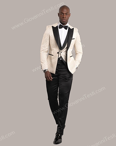 3 Piece 1 Button Slim Fit Tuxedo with Oval Pattern GT1ST-7063 Ivory