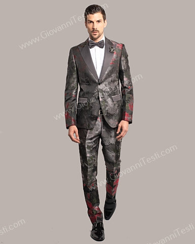 Giovanni Testi 2 Button Slim Fit Suit, Satin Peak Lapel GT2DG-939
